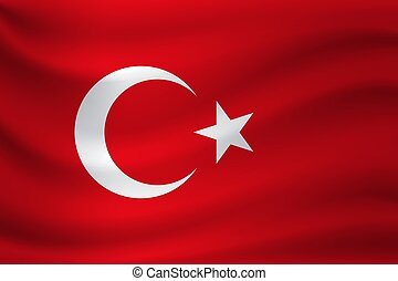 Waving flag of Turkey. Vector illustration
