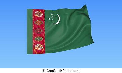Waving flag of Turkmenistan, seamless loop. Exact size, blue...