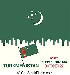 waving flag of Turkmenistan. Template for independence day. vector illustration
