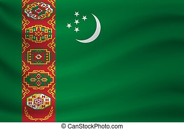 Waving flag of Turkmenistan. Vector illustration
