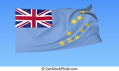 Waving flag of Tuvalu, seamless loop. Exact size, blue background. Part of all countries set. 4K ProRes with alpha