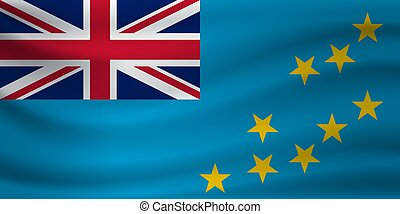 Waving flag of Tuvalu. Vector illustration