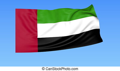 Waving flag of UAE, seamless loop. Exact size, blue background. Part of all countries set. 4K ProRes with alpha