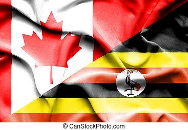 Waving flag of Uganda and Canada