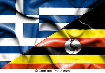Waving flag of Uganda and Greece