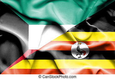 Waving flag of Uganda and Kuwait