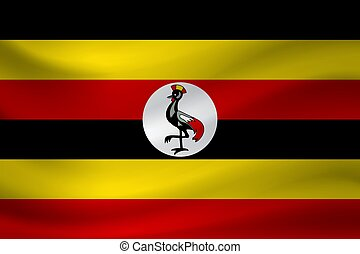Waving flag of Uganda. Vector illustration