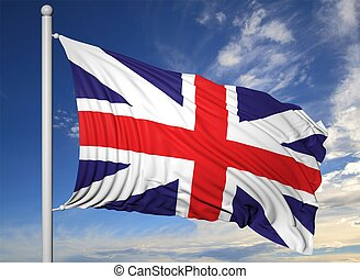 Waving flag of UK on flagpole, on blue sky background.