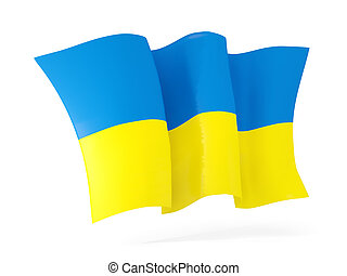 Waving flag of ukraine. 3D illustration