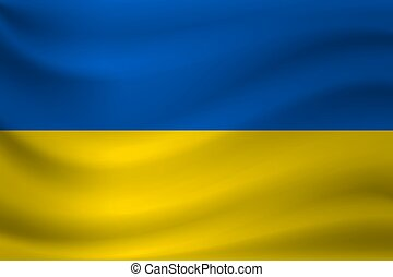 Waving flag of Ukraine. Vector illustration