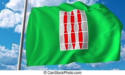 Waving flag of Umbria a region of Italy - Waving flag of...