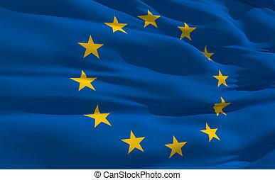 Waving flag of United Europe