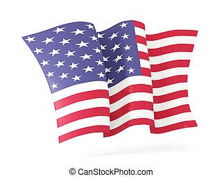Waving flag of united states of america. 3D illustration