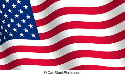 Waving flag of  United States of Am