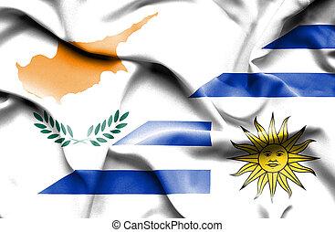 Waving flag of Uruguay and Cyprus