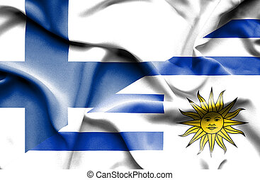 Waving flag of Uruguay and Finland