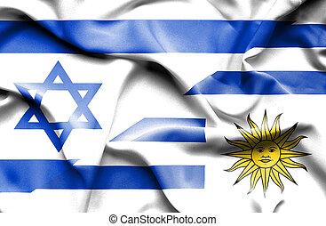 Waving flag of Uruguay and Israel