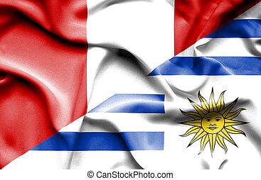Waving flag of Uruguay and Peru