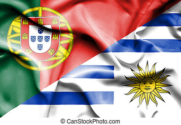 Waving flag of Uruguay and Portugal