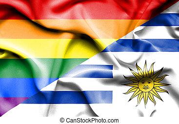 Waving flag of Uruguay and Pride