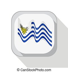 Waving flag of Uruguay on the button. Vector illustration.