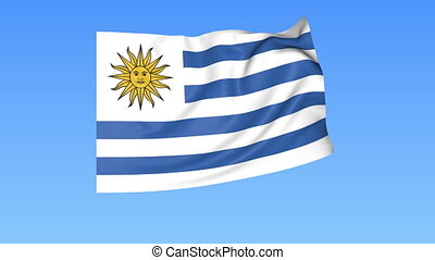 Waving flag of Uruguay, seamless loop. Exact size, blue...