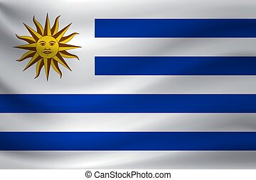 Waving flag of Uruguay. Vector illustration