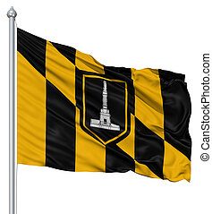 Waving Flag of USA city, Baltimore - United States of...