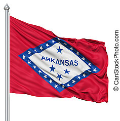 Waving Flag of USA state Arkansas - Realistic 3d flag of...