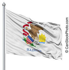 Waving Flag of USA state Illinois - Realistic 3d flag of...