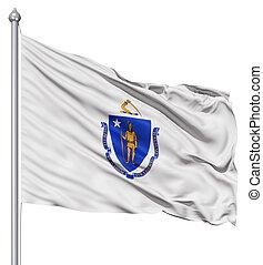 Waving Flag of USA state Massachusetts - Realistic 3d flag...