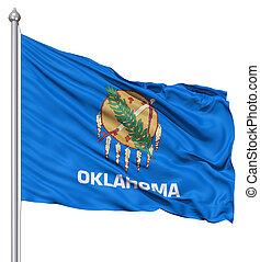 Waving Flag of USA state Oklahoma - Realistic 3d flag of...