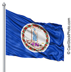 Waving Flag of USA state Virginia - Realistic 3d flag of...