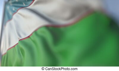 Waving flag of Uzbekistan, shallow focus close-up. Realistic loopable 3D animation