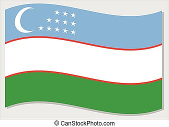 Waving flag of Uzbekistan vector graphic. Waving Uzbekistani flag illustration. Uzbekistan country flag wavin in the wind is a symbol of freedom and independence.
