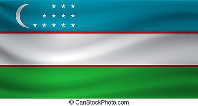 Waving flag of Uzbekistan. Vector illustration