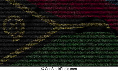 Waving flag of Vanuatu made of text symbols on a computer...