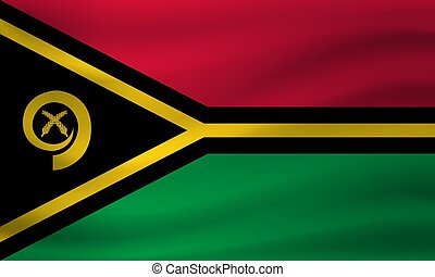 Waving flag of Vanuatu. Vector illustration