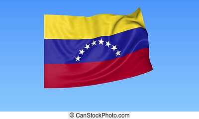 Waving flag of Venezuela, seamless loop. Exact size, blue background. Part of all countries set. 4K Pro Res with alpha