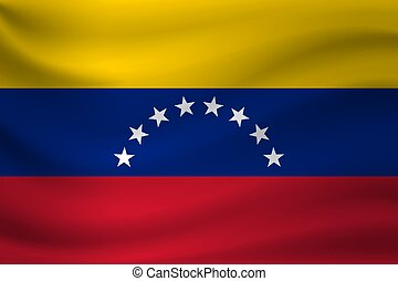 Waving flag of Venezuela. Vector illustration