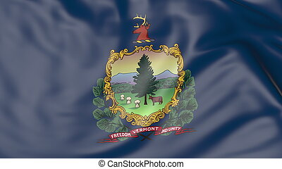 Waving flag of Vermont state. 3D rendering