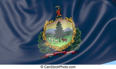 Waving flag of Vermont state against blue sky. Seamless loop