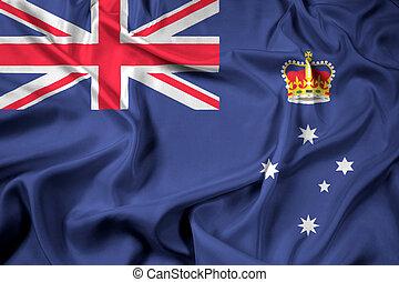 Waving Flag of Victoria State, Australia