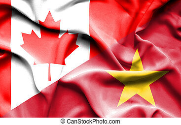 Waving flag of Vietnam and Canada