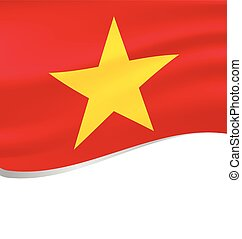 Waving flag of Vietnam isolated on white