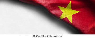 Waving flag of Vietnam - on white background - right top corner flag