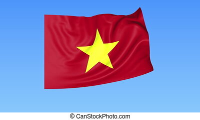 Waving flag of Vietnam, seamless loop. Exact size, blue background. Part of all countries set. 4K Pro Res with alpha