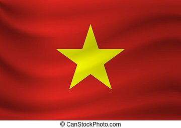 Waving flag of Vietnam. Vector illustration