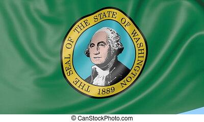 Waving flag of Washington against blue sky.