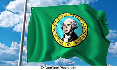 Waving flag of Washington